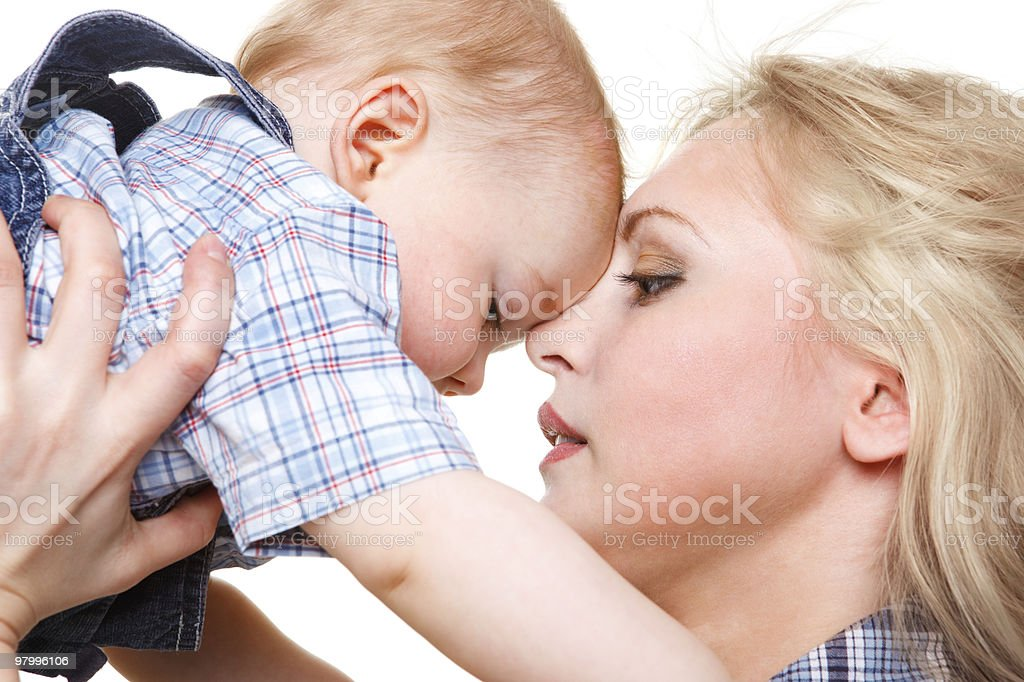 Portrait of mother with son royalty free stockfoto