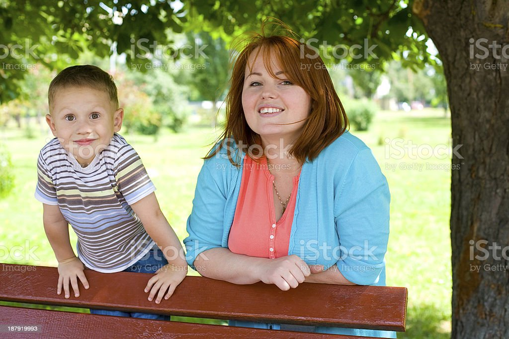 Portrait of mother with the four-year-old son royalty-free stock photo