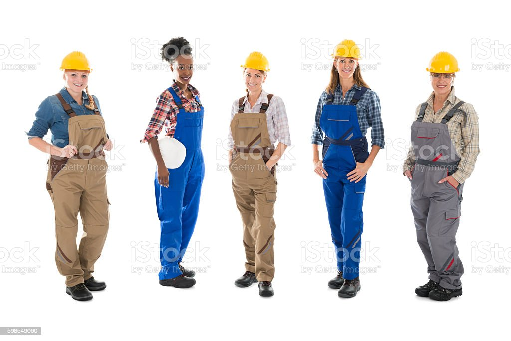 Portrait Of Multi ethnic Female Carpenters Standing In Row stock photo