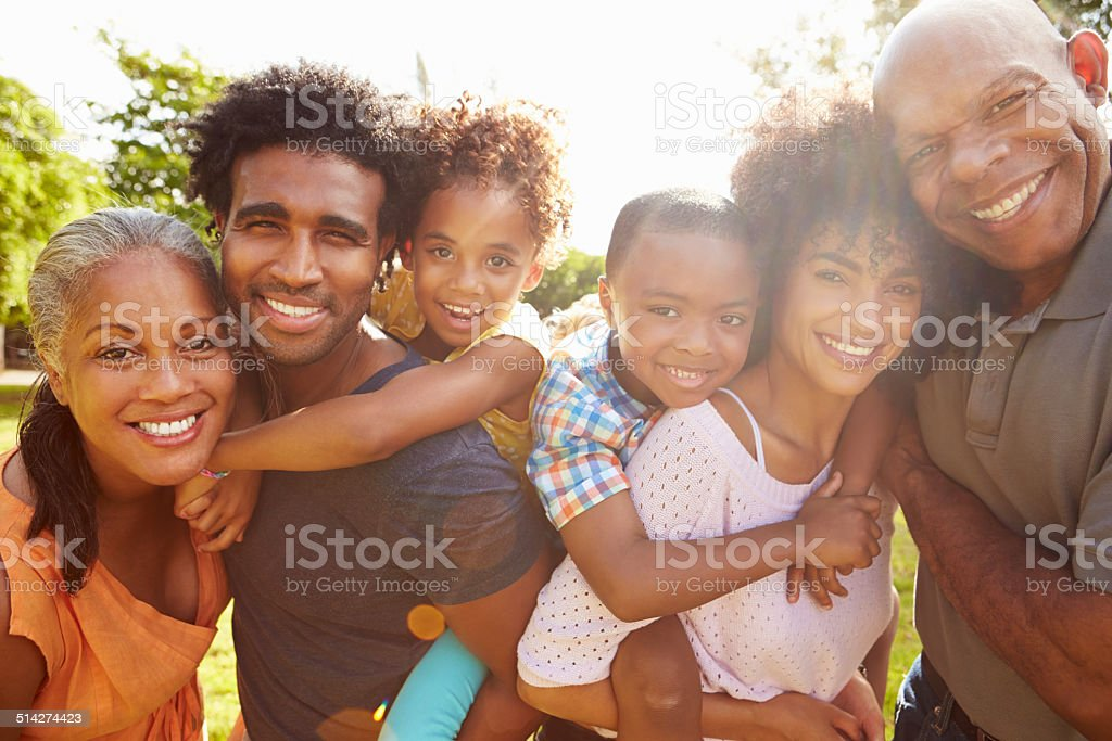 Portrait Of Multi Generation Family In Park Together stock photo