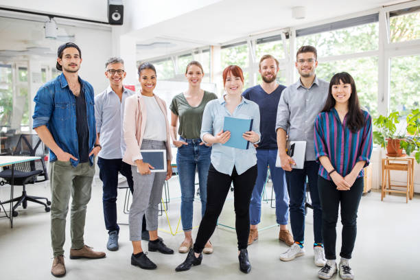 Portrait of multi-ethnic business team stock photo