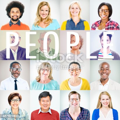 istock Portrait of Multiethnic Colorful Cheerful People 487921803