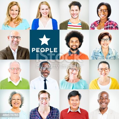 istock Portrait of Multiethnic Diverse Colourful People 488576283