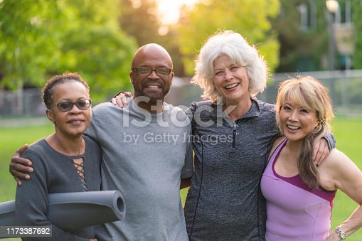 istock Portrait of multi-ethnic group of seniors attending outdoor fitness class 1173387692