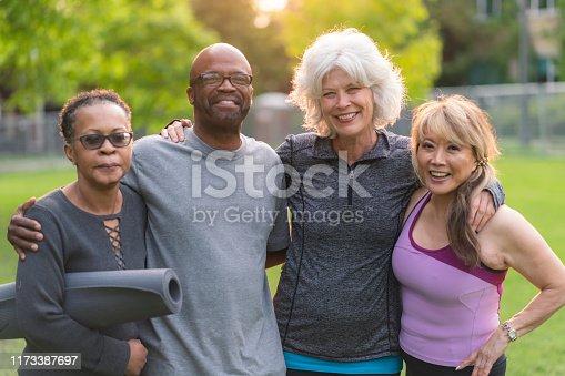 istock Portrait of multi-ethnic group of seniors attending outdoor fitness class 1173387697