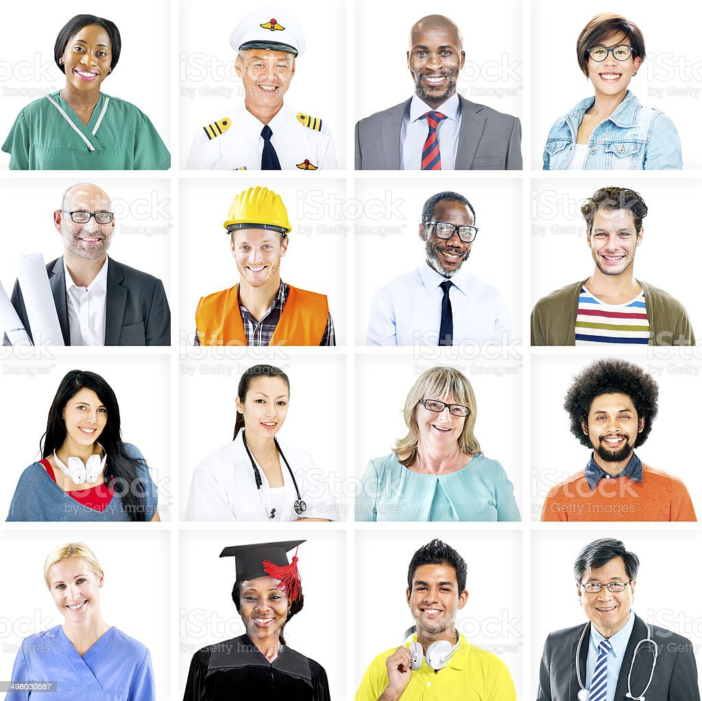Portrait of Multiethnic Mixed Occupation People stock photo