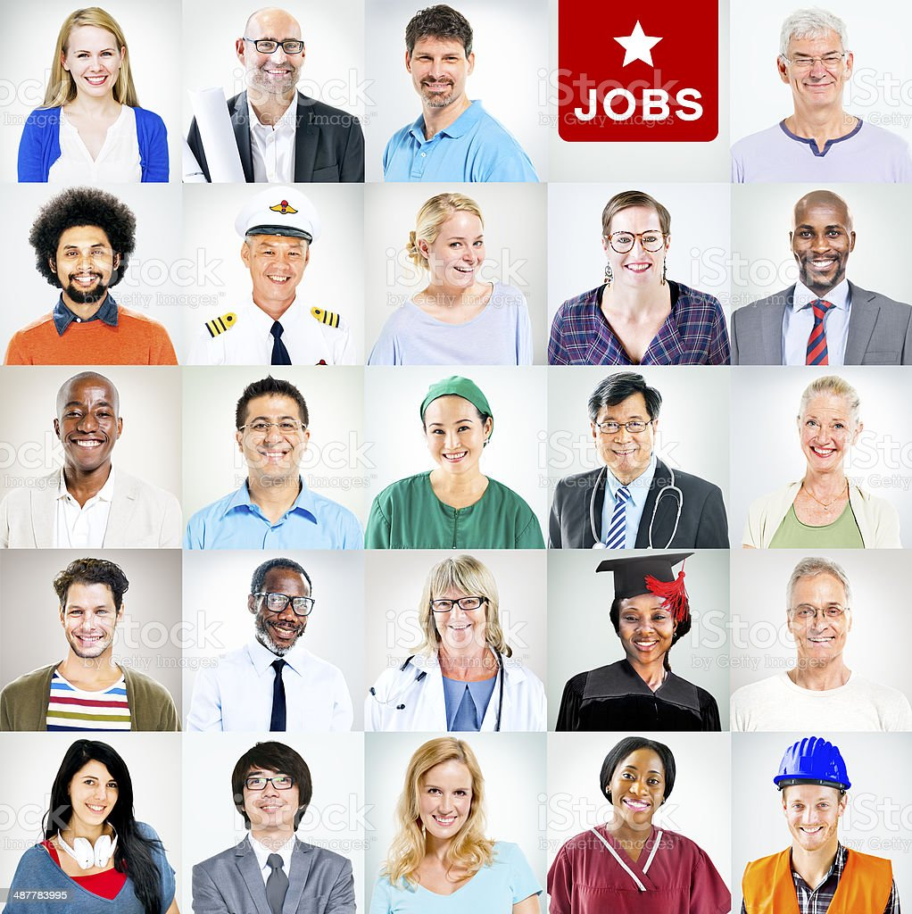Portrait of Multiethnic Mixed Occupations People stock photo
