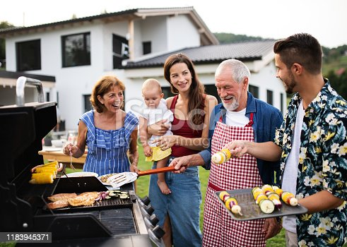 Portrait of multigeneration family outdoors on garden barbecue, grilling and talking.