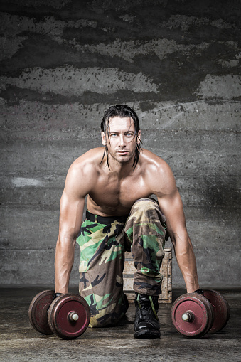 Image Of Muscle Man Posing In Studio Stock Image - Image