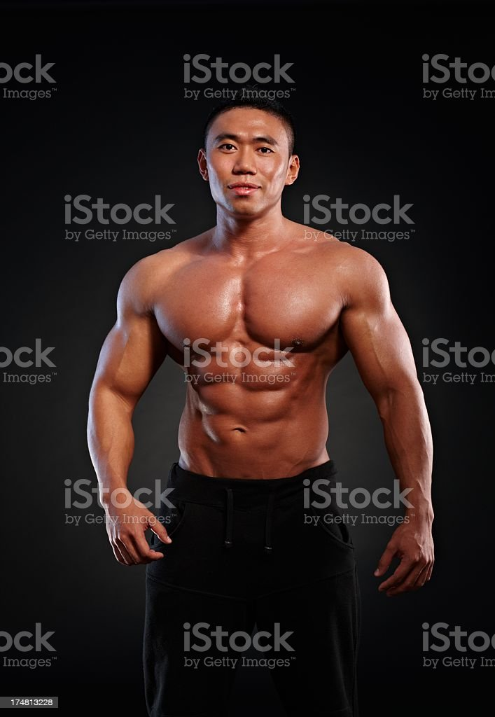 Portrait of muscular asian man royalty-free stock photo