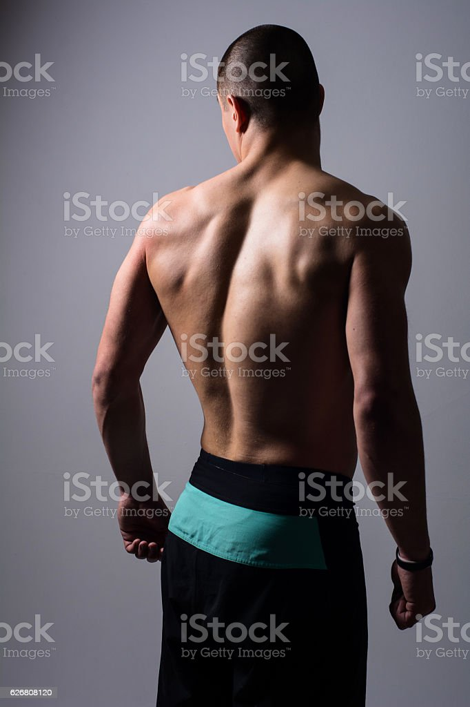 Portrait of muscular handsome young man stock photo