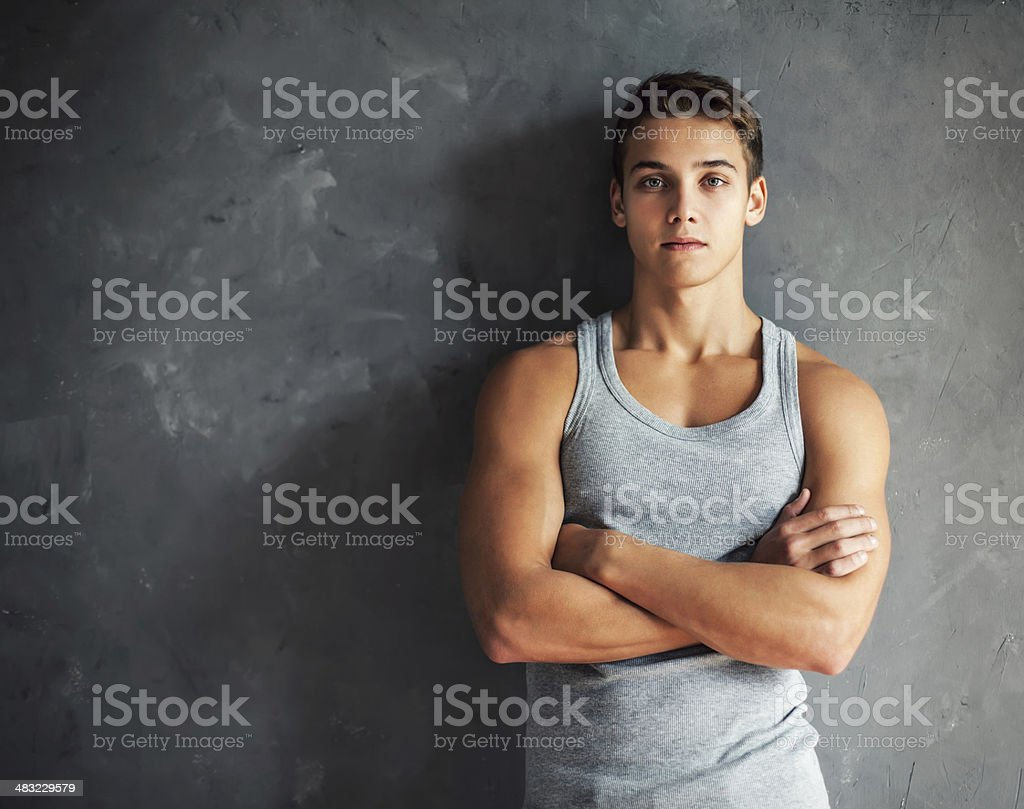 Portrait of muscular young handsome man stock photo