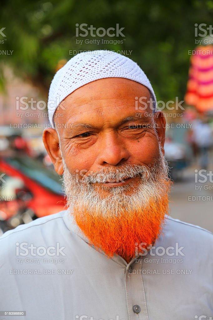Portrait of muslim man standing at Johari Bazaar street stock photo