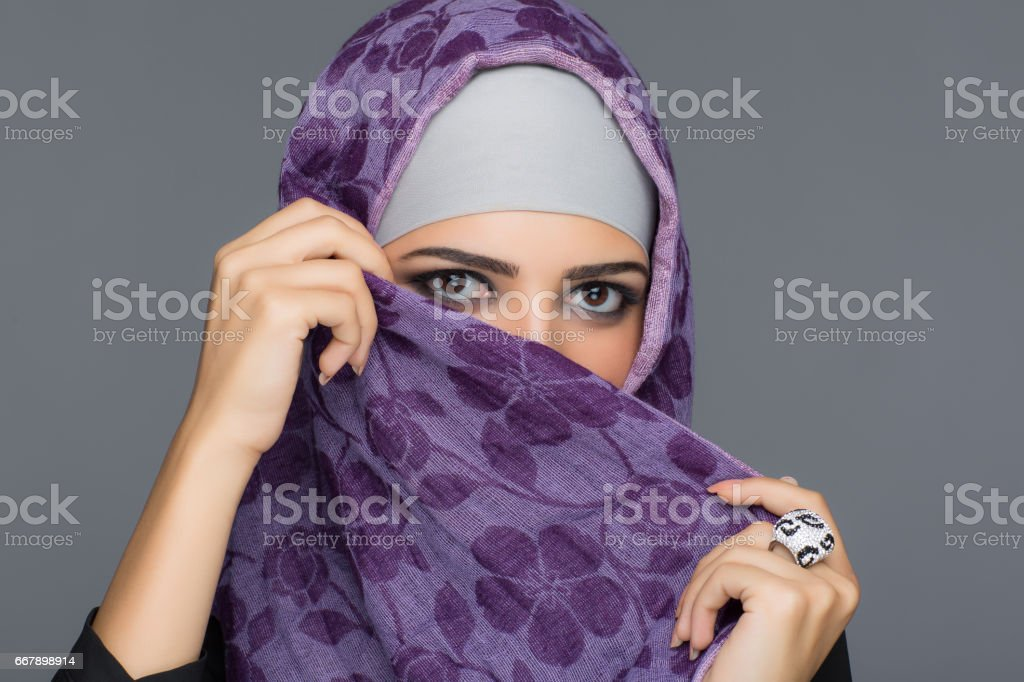 Portrait of Muslim women in hijab royalty-free stock photo