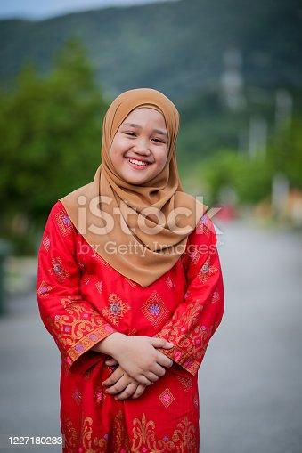 Portrait of Muslim teenage girl in Malaysia.