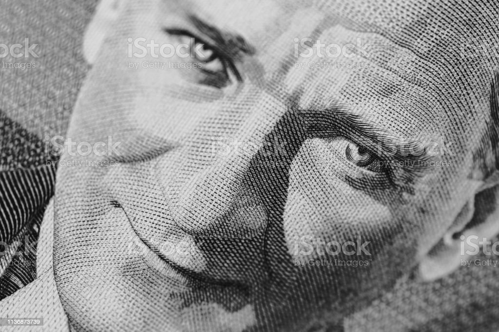 portrait of mustafa kemal ataturk close up on ataturk portrait on banknote Adult Stock Photo