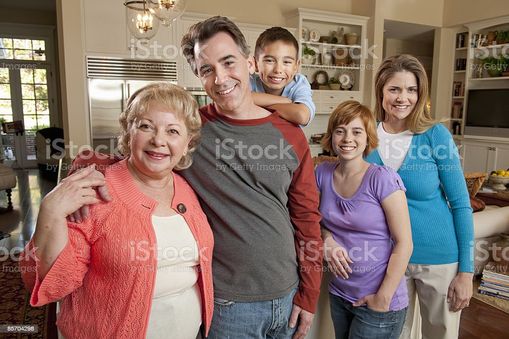 Portrait of Muti-generational Family at Home royalty-free stock photo