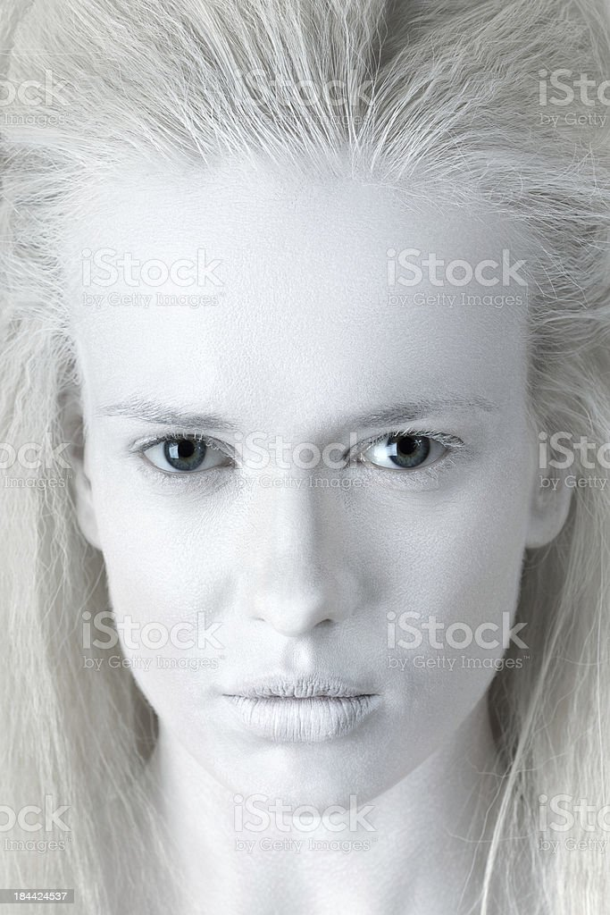 Portrait of mysterious albino woman stock photo
