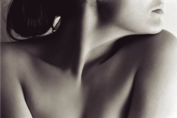 Portrait of Naked Woman's Neck and Face stock photo
