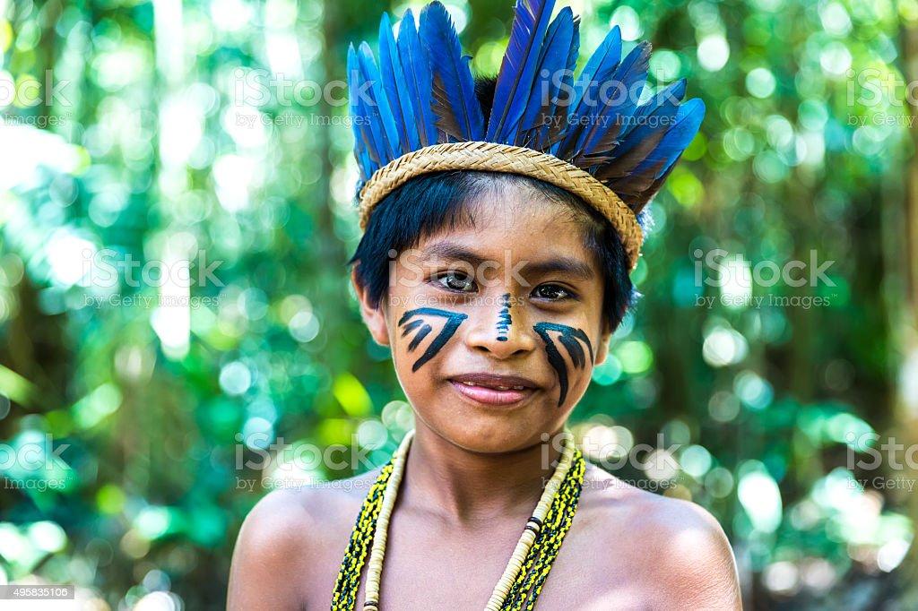 Portrait of Native Brazilian boy stock photo