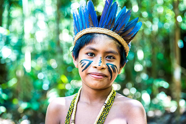 Portrait of Native Brazilian boy stock photo