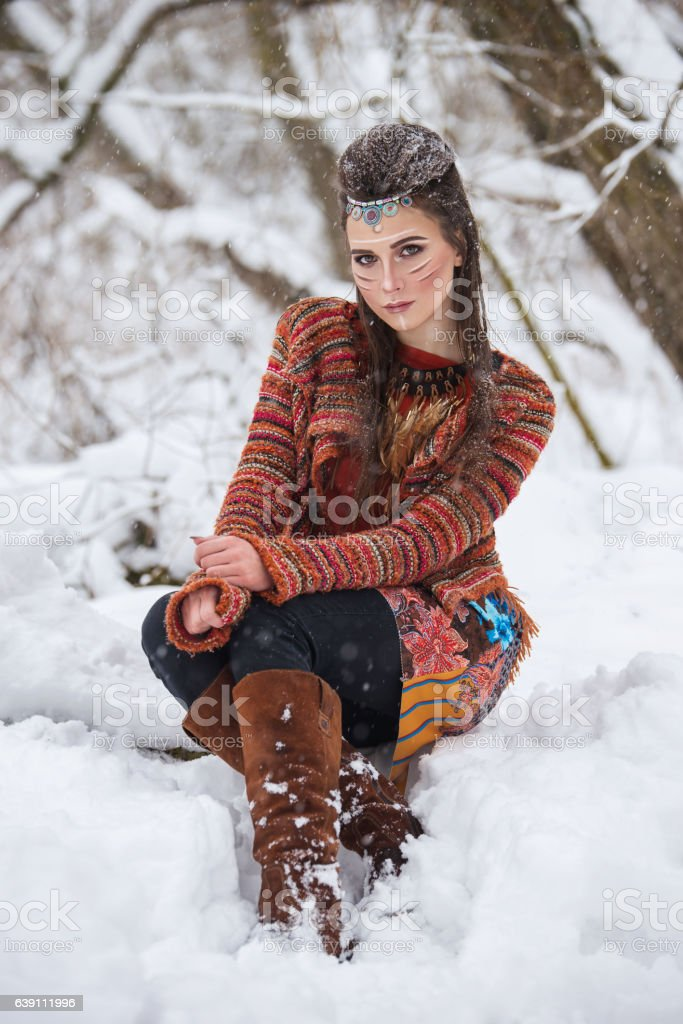 Portrait of native indian woman with traditional makeup and hairstyle. stock photo