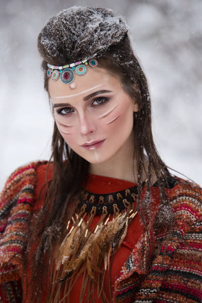 portrait of native indian woman with traditional makeup and hairstyle. - indianer make up stock-fotos und bilder