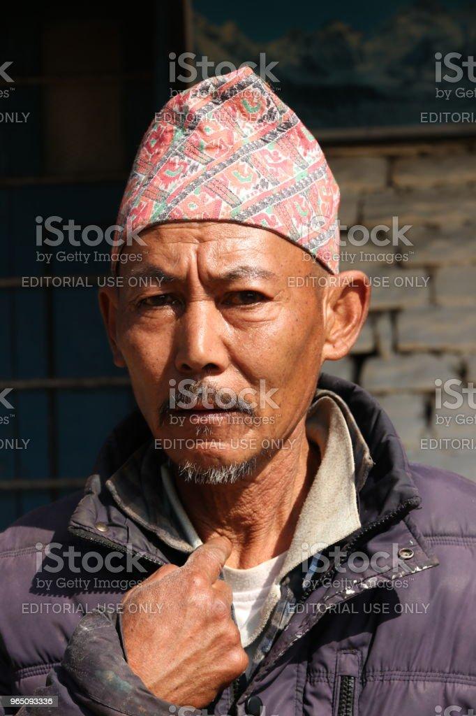 Portrait of Nepali man, Ghandruk zbiór zdjęć royalty-free