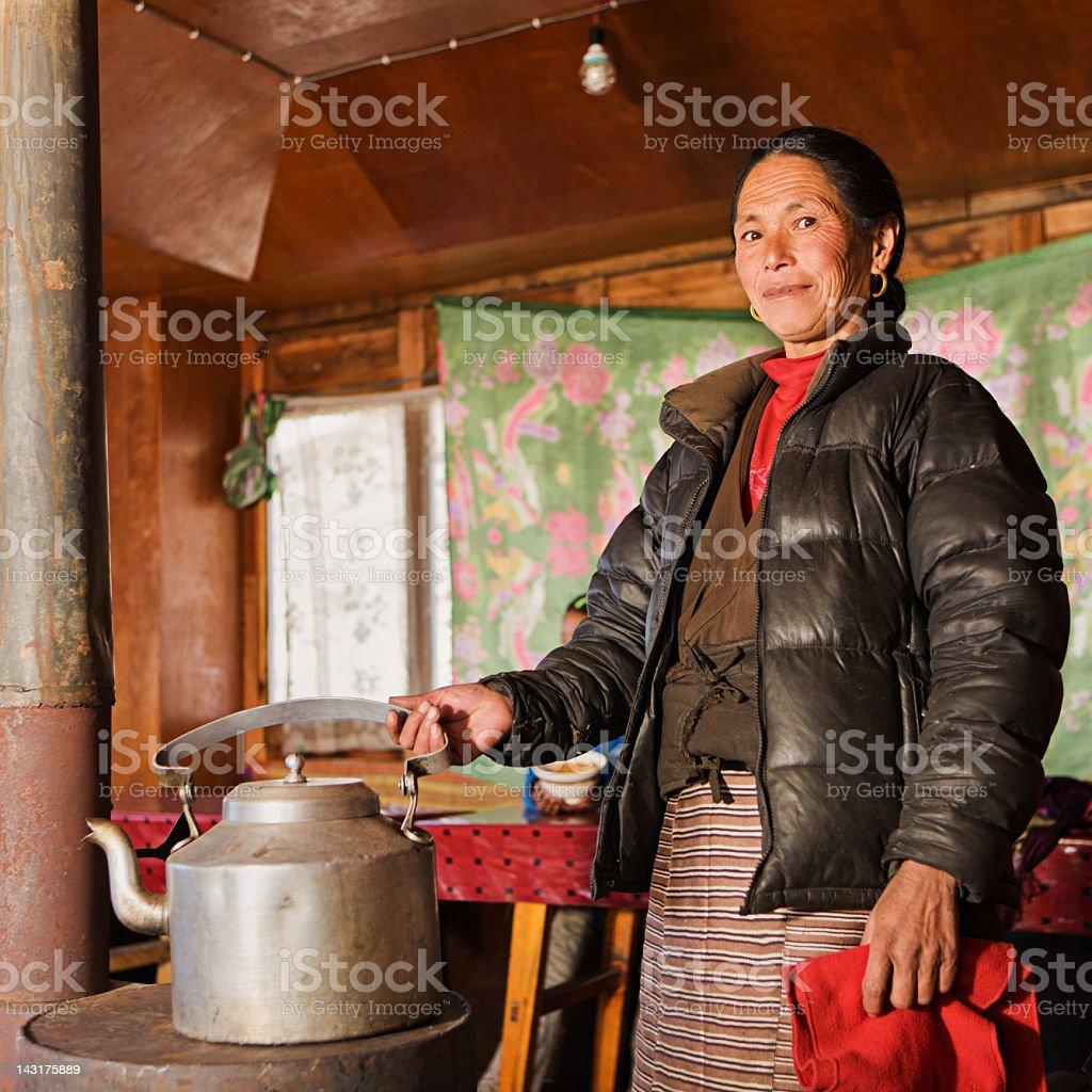 Portrait of Nepali woman in her lodge, Himalaya royalty-free stock photo