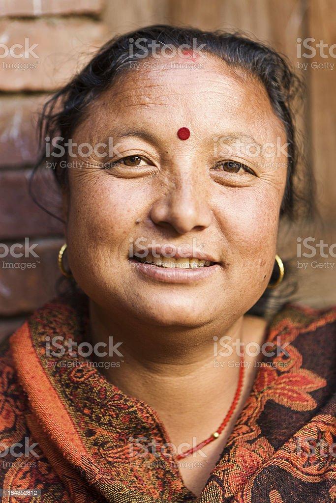 Portrait of Nepali woman stock photo