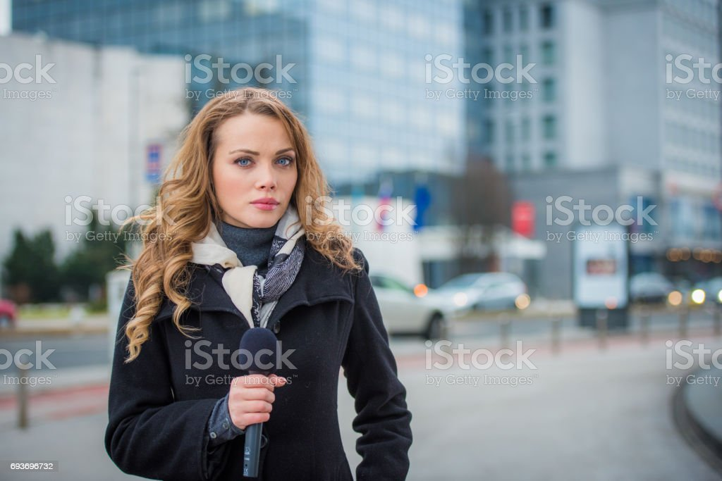 Portrait of newsreader stock photo