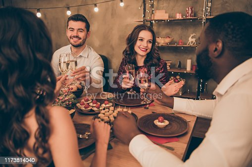 1064325668 istock photo Portrait of nice attractive lovely gorgeous smart stylish cheerful cheery positive multinational guys best buddy fellow spending festal event evening congratulating birthday in decorated house 1173814040