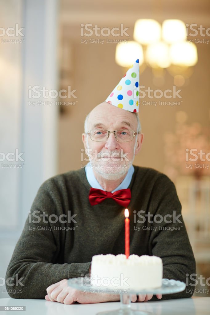 Groovy Portrait Of Nice Old Man Smiling Happily To Camera While Sitting Personalised Birthday Cards Veneteletsinfo