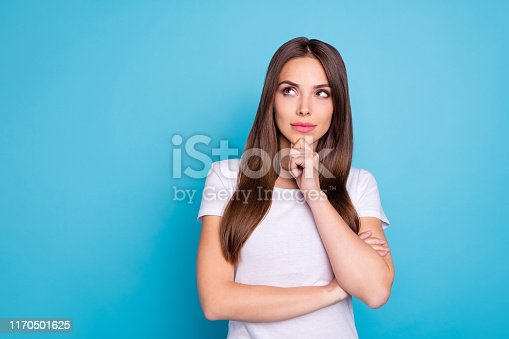Portrait of nice-looking attractive, lovely lovable feminine gorgeous fascinating straight-haired girlfriend thinking creating plan isolated over bright vivid shine blue green teal turquoise background