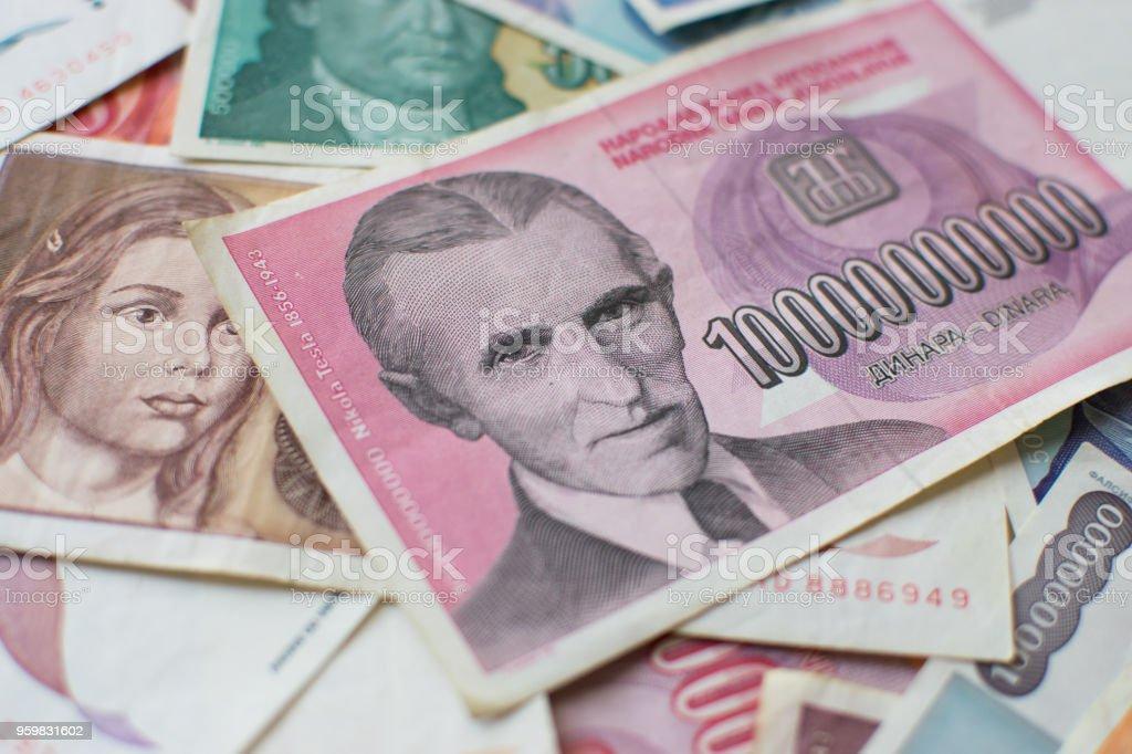 Portrait Of Nikola Tesla Famous Inventor On Banknote Stock Photo