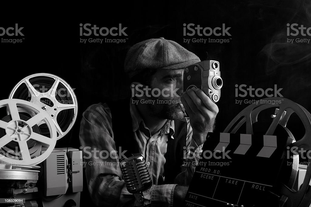 Portrait Of Old Fashioned Cinema Director Camera In Hand stock photo