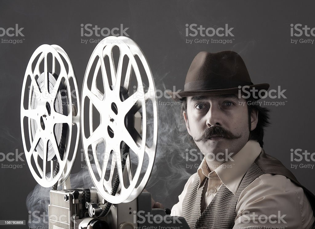 Portrait of old Fashioned Cinematographer royalty-free stock photo