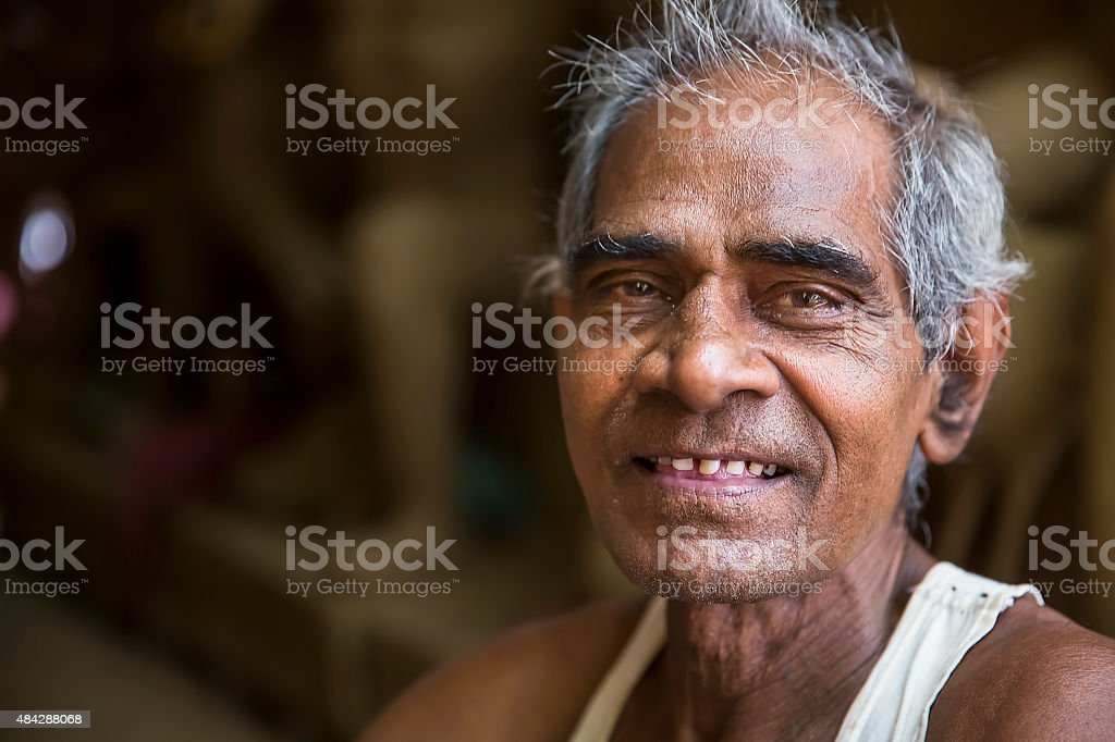 Portrait of Old Indian man, smiling at the Camera stock photo