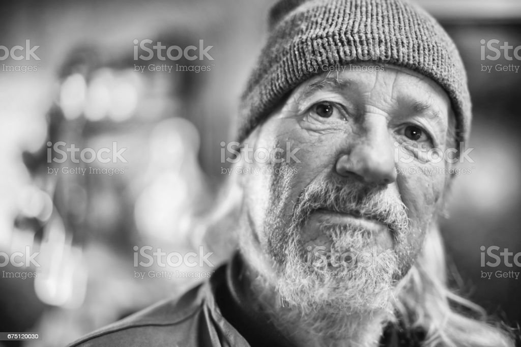 Portrait of old man bw stock photo