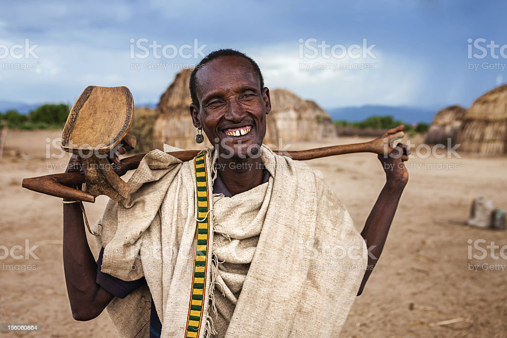 Portrait of old man from Erbore tribe, Ethiopia, Africa stock photo