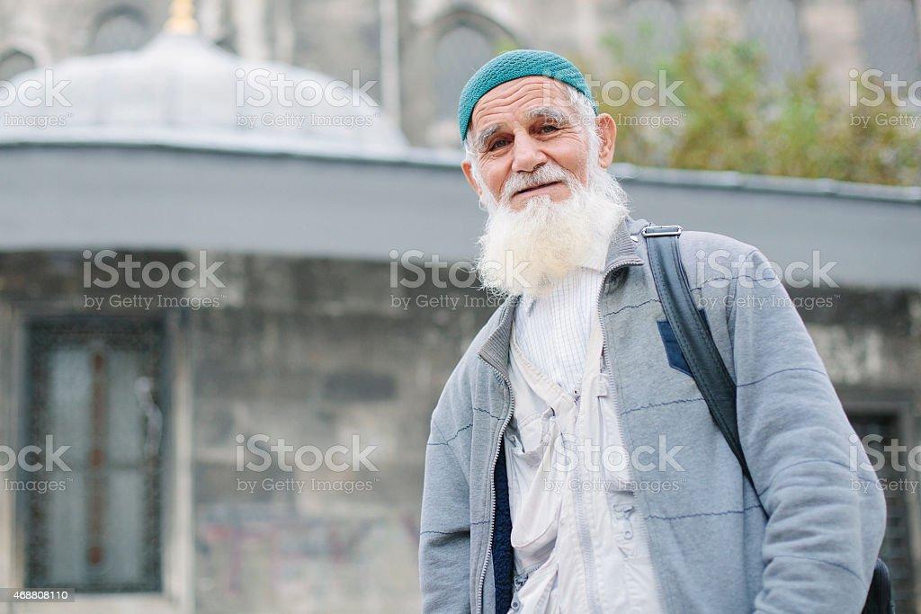 Portrait of old man stock photo