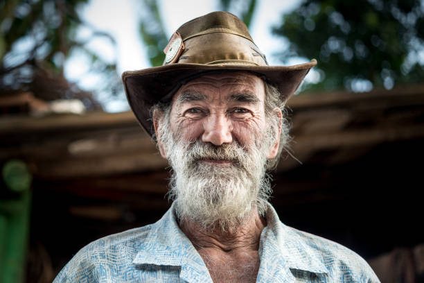 Portrait of old man, wagon horse worker, Brazil stock photo