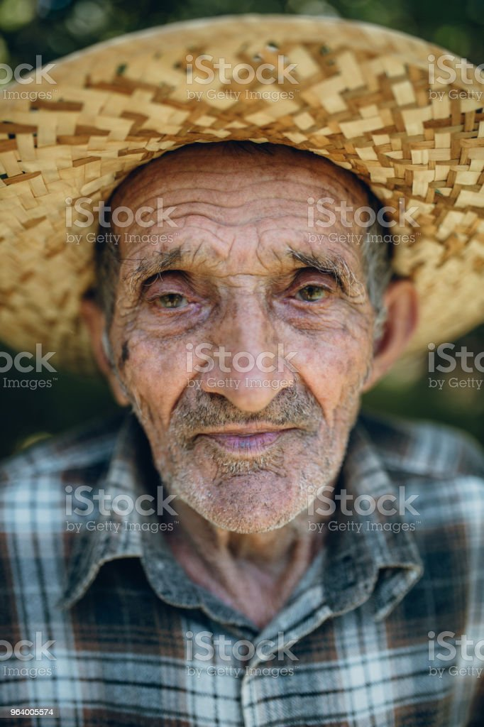 Portrait of old man with hat - Royalty-free 80-89 Years Stock Photo