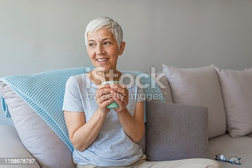 638765726 istock photo Portrait of old mature lady sitting on couch and smiling 1158678757