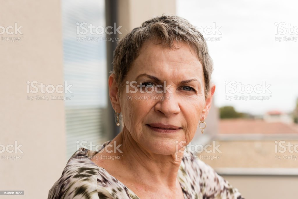 Portrait of older woman stock photo