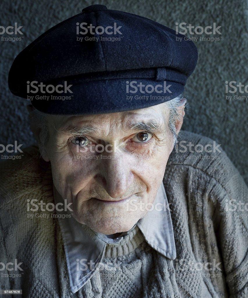 Portrait of one friendly old senior man royalty-free stock photo