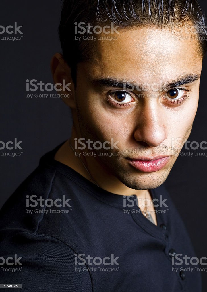 Portrait of one hispanic handsome man royalty-free stock photo