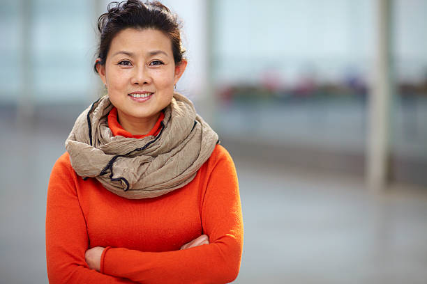 portrait of one mature Chinese woman stock photo