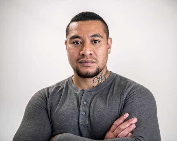 Portrait of Pacific Islander man stock photo
