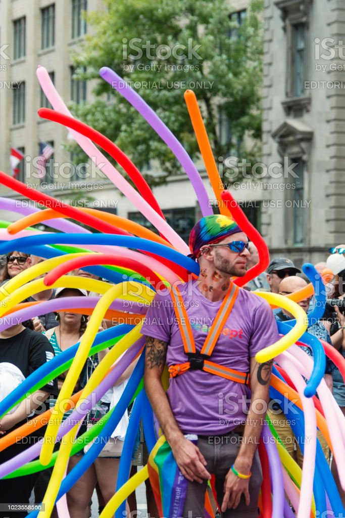 Portrait of participant of LGBTQ Pride Parade in Montreal. stock photo
